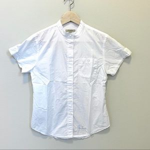 Burberry Embroidered Slim Fit Shirt In White Small